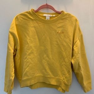 Adorable Cropped Yellow Crewneck w/ script